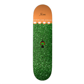 Personalized name witch green glitter skateboard deck