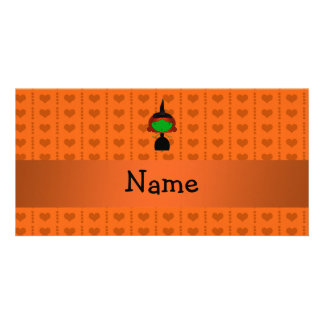 Personalized name witch orange hearts photo cards
