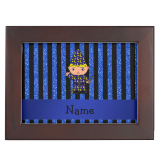 Personalized name wizard blue glitter stripes memory box