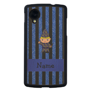 Personalized name wizard blue glitter stripes carved® maple nexus 5 slim case