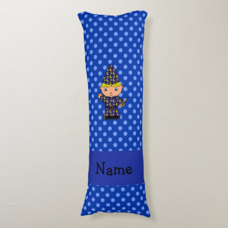 Personalized name wizard blue polka dots body pillow