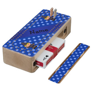 Personalized name wizard blue polka dots wood cribbage board