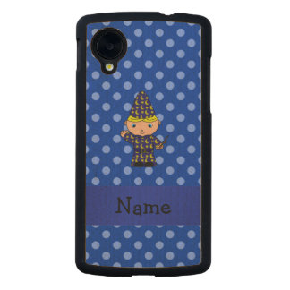 Personalized name wizard blue polka dots carved® maple nexus 5 slim case