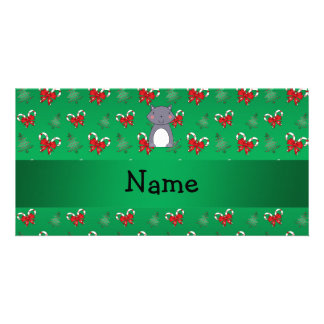 Personalized name wolf green candy canes bows photo card