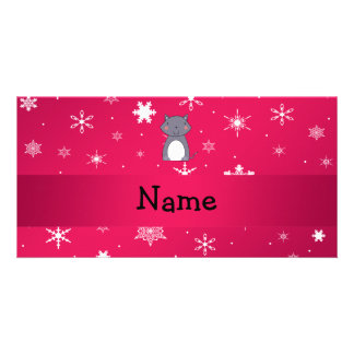 Personalized name wolf pink snowflakes customised photo card