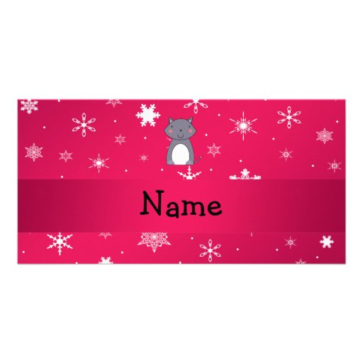 Personalized name wolf pink snowflakes custom photo card