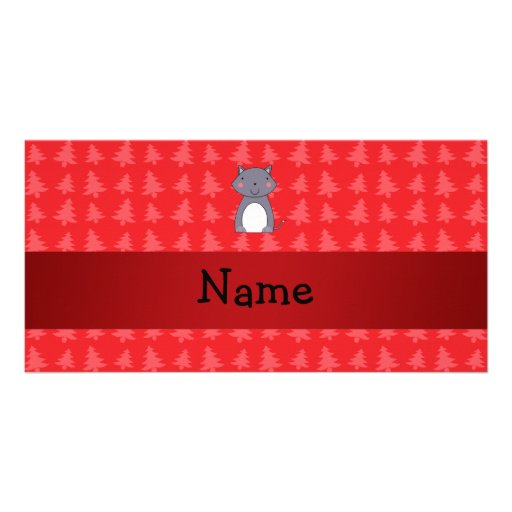 Personalized name wolf red christmas trees photo cards