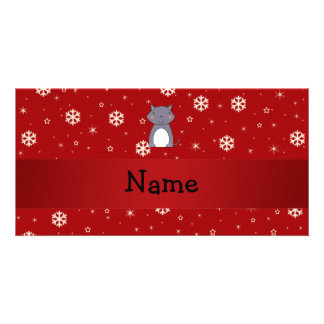 Personalized name wolf red snowflakes photo greeting card