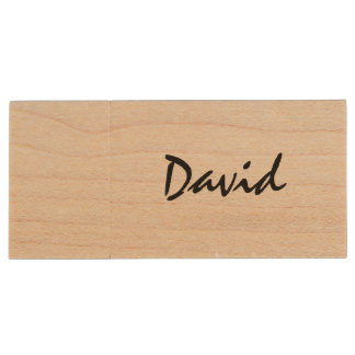 Personalized name wooden USB stick flash drive