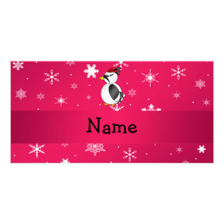 Personalized name woodpecker pink snowflakes custom photo card