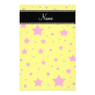 Personalized name Yellow and Pink stars Stationery Design