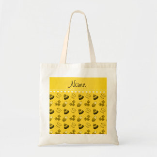 Personalized name yellow baby blocks mobile toys budget tote bag