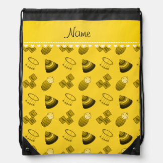 Personalized name yellow baby blocks mobile toys drawstring bags