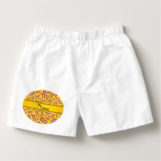 Personalized name yellow bacon pattern boxers