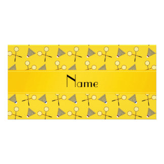 Personalized name yellow badminton pattern customized photo card