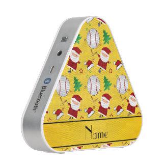 Personalized name yellow baseball christmas bluetooth speaker