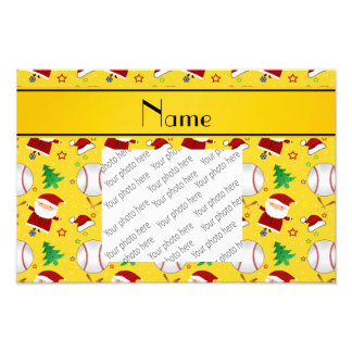 Personalized name yellow baseball christmas photograph