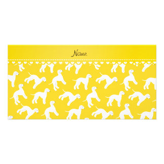 Personalized name yellow bedlington terrier dogs customized photo card