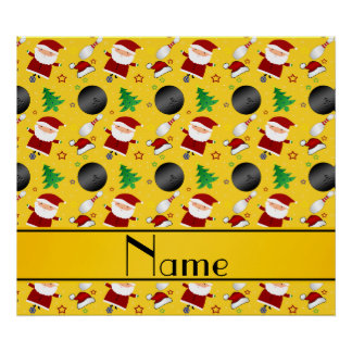 Personalized name yellow bowling christmas pattern posters