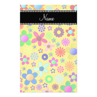 Personalized name yellow colorful retro flowers personalized stationery