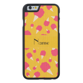Personalized name yellow cotton candy carved® maple iPhone 6 case