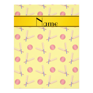 Personalized name yellow cricket pattern 21.5 cm x 28 cm flyer