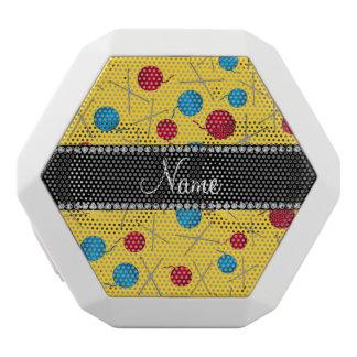 Personalized name yellow crochet pattern white boombot rex bluetooth speaker
