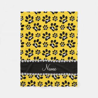 Personalized name yellow dachshunds dog paws fleece blanket