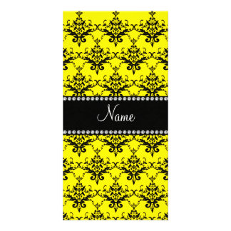 Personalized name yellow damask personalised photo card