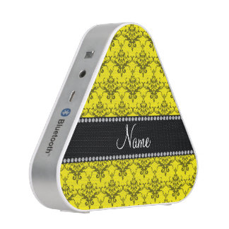 Personalized name Yellow damask Bluetooth Speaker
