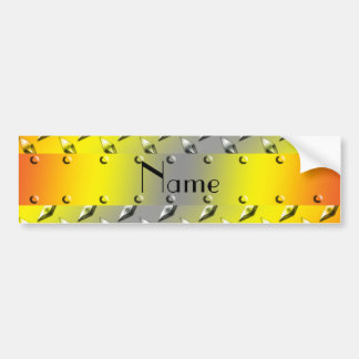 Personalized name yellow diamond plate steel bumper stickers