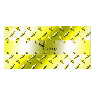 Personalized name yellow diamond plate steel custom photo card