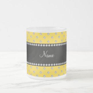 Personalized name yellow diamonds mug