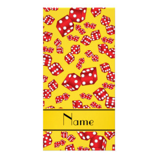 Personalized name yellow dice pattern photo card