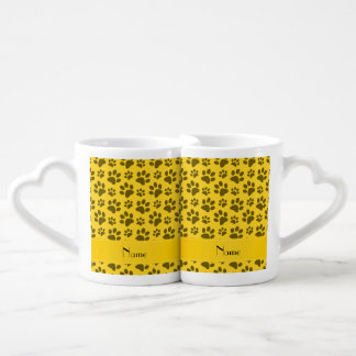 Personalized name yellow dog paws lovers mug