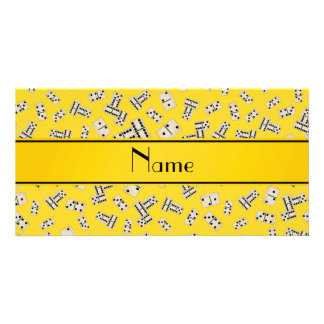 Personalized name yellow dominos customized photo card