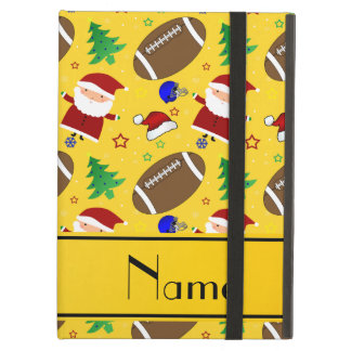 Personalized name yellow football christmas iPad air cover