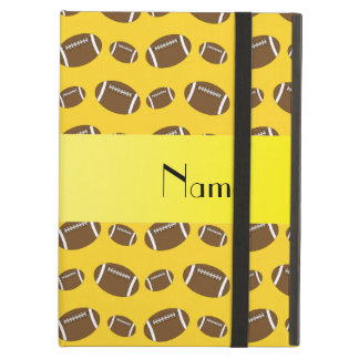 Personalized name yellow footballs iPad air case
