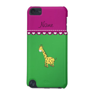 Personalized name yellow giraffe green pink stripe iPod touch 5G covers