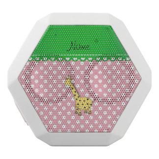 Personalized name yellow giraffe pink polka dots white boombot rex bluetooth speaker