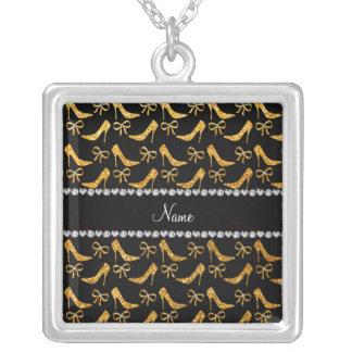 Personalized name yellow glitter high heels bow custom jewelry