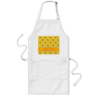 Personalized name yellow gold hearts mom love long apron