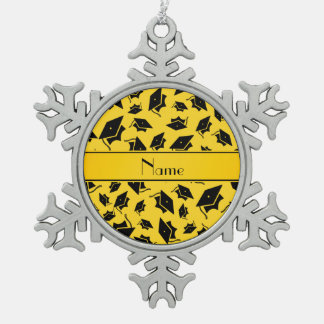 Personalized name yellow graduation cap pewter snowflake decoration