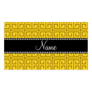 Personalized name yellow greek key pattern business card templates