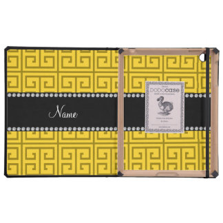 Personalized name yellow greek key pattern cases for iPad