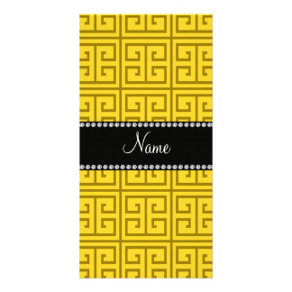 Personalized name yellow greek key pattern customised photo card