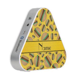 Personalized name yellow hamburger pattern bluetooth speaker