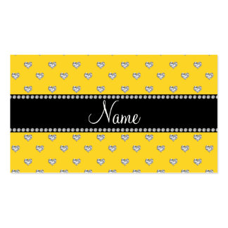 Personalized name yellow heart diamonds business card