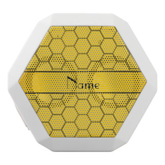 Personalized name yellow honeycomb white boombot rex bluetooth speaker