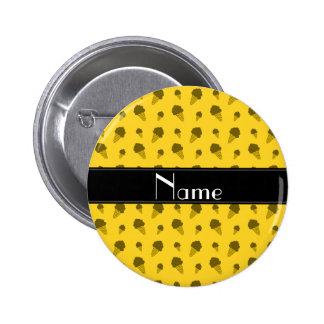 Personalized name yellow ice cream pattern pinback buttons